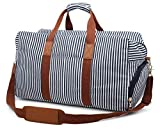 Gimay Weekend Travel Bag Women Overnight Duffle Canvas Tote Bags … (Blue Stripe)