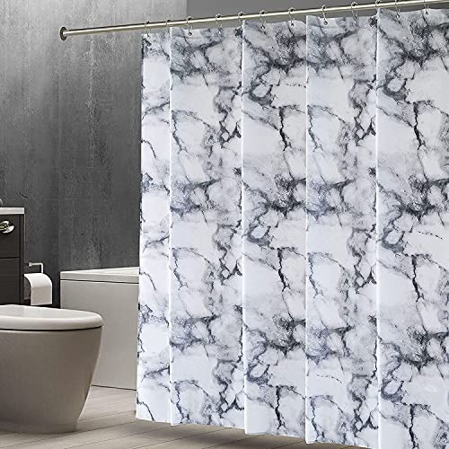 Shower Curtain Mould & Mildew Resistant Waterproof Washable Decorative Bathroom Curtains Marble Design with 12 stainless steel rings & hooks (Marble Grey, 180x180CM)