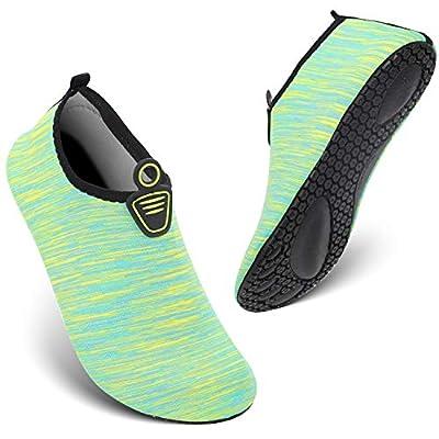 HEETA Water Sports Shoes for Women Men Quick Dry Aqua Socks Swim Barefoot Pool Beach Shoes for All Water Sport Green_E XXL