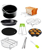 Air Fryer tillbehör Ninja Foodi multicooker med bakplåt bakplåt grillstativ non-stick underlägg för 20 cm luftfritös 10 st