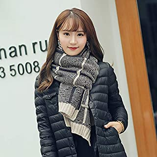 Winter Long Scarf Wool Scarf Female Autumn and Winter Knit Long Section Thick Couple Scarf Warm Collar Korean Male (Color : Black) Winter Soft Scarf (Color : Beige)