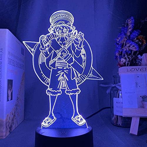Lámpara de dibujos animados para niño Lámpara de noche Ilusión óptica 3D Dormitorio Flash Bulb Mood Anime LED 3D 7 colores Cambio de USB Decoración de mesa para el hogar Luz de noche Iluminación p