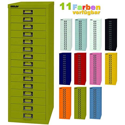 BISLEY ladekast 39 van metaal met 15 schuifladen, kast voor kantoor, werkplaats en thuis, stalen kast in 11 kleuren groen