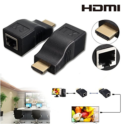 2Pcs HDMI Repeater, HDMI to RJ45 Network Cable Extender Over by Cat 5e / 6 1080p up to 30m Extender Repeater for HDTV HDPC PS4 STB 4K 2K