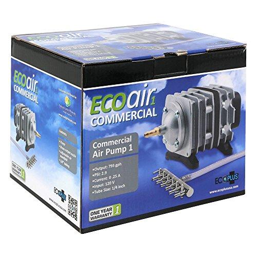 EcoPlus 728450 Eco Air1 Air Pump 1-18 Watt Single Outlet, 6 Valve Manifold For Aquarium, Fish Tank, Fountain, Pond & Hydroponics, Commercial 793 GPH, Silver