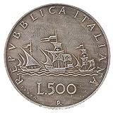 Humpie Copia Moneta Italia 500 Lire Caravelle República Italiana Busto de Mujer