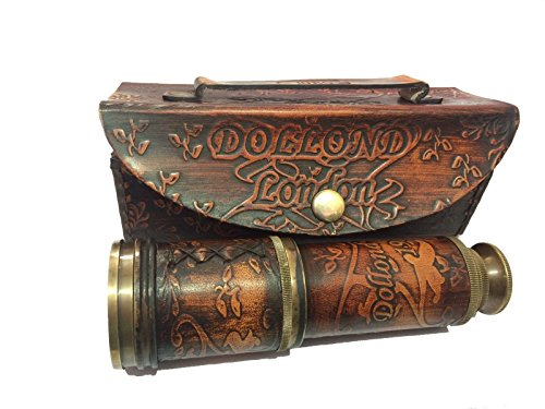 Marine Nautical Store - Longue vue télescopique maritime vintage en laiton - Pirate - Avec housse
