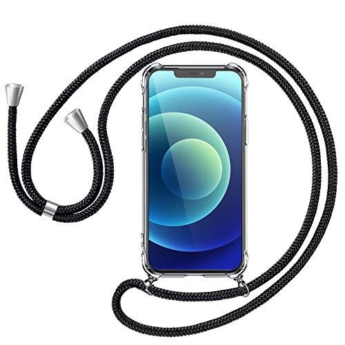 yotame Handykette Kompatibel mit iPhone 12 /iPhone 12 Pro Hülle mit Band, Smartphone Necklace Silikon Transparent Schutzhülle mit Kordle zum Umhängen Handyhülle Kompatibel mit iPhone 12 /iPhone 12 Pro