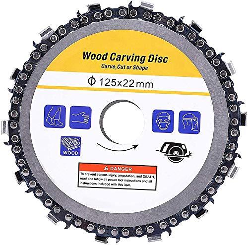 2Pcs 125 mm 5-Zoll-Sägescheibe für Winkelschleifer hochwertiges Hartmetall-Schneidmesser für Winkelschleifer multifunktionale Kettenscheibe zum Schneiden Sägen und Polieren