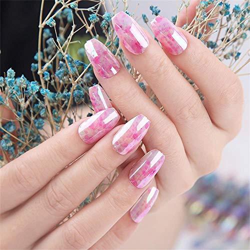HQQPA Künstliche Nägel 24Pcs Solid Color Mirror Gefälschte Nägel Chrommalerei Volle Abdeckung Lange Nagelspitzen Fingernageldekore Nail Art
