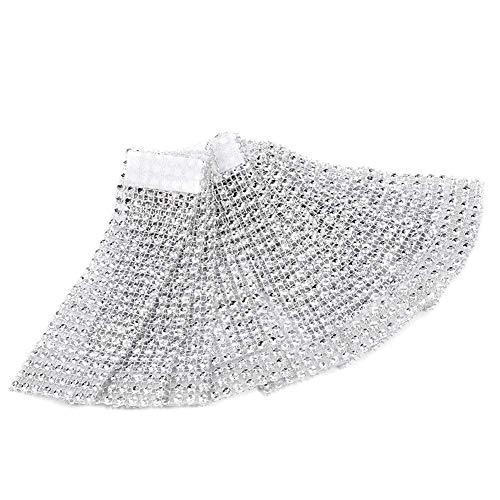 50 Stück Strass Serviettenringe Serviette Halter Schärpe Band Serviettenkette Serviettenhalter Klettverschluss mit Klettverschluss Tischdekoration für Hochziet Party Weihnachten (Silber)