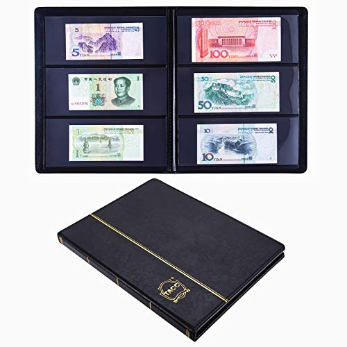 Ettonsun Leather 60-Pocket Paper Money Album Currency Holders for Collectors Collection Supplies Holder Book for Travel Bill Banknote Stamp Storage Display,Collection Folder for paper souvenirs, Black
