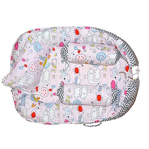 Baby Bucket Baby Bedding Set/Gadda Set 100% Cotton Soft and Breathable, Perfect for Sleeping, Portable Crib, Crib, Cradle, Travel Bed-[LPink & Grey]