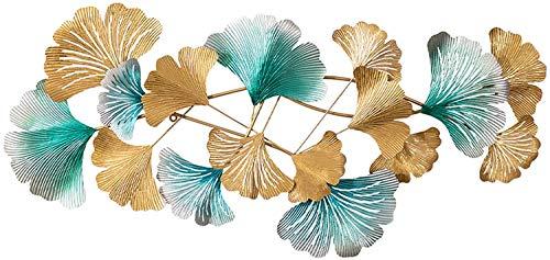 JIAJBG Arte de la Pared Del Metal de Hoja de Ginkgo Obra Pared, Nature Home Arte Decoración Luz Moderno Regalos de la Cocina Pared de Lujo Obra Colgando 49X2.8X23.6 Pulgadas fuerte