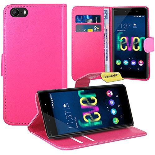 Wiko Fever 4G Handy Tasche, FoneExpert® Wallet Hülle Flip Cover Hüllen Etui Ledertasche Lederhülle Premium Schutzhülle für Wiko Fever 4G (Rosa)
