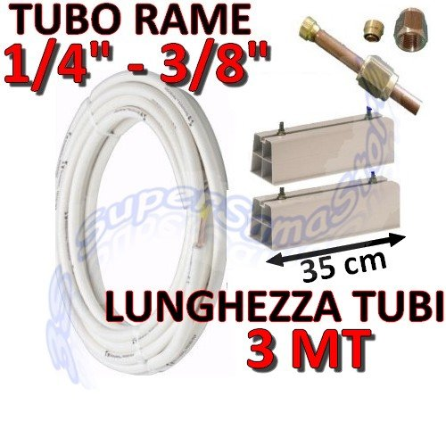 Kit-Soporte para climatizador 3mt cobre 1/4', 3/8' con bases para unidad externa 35 cm