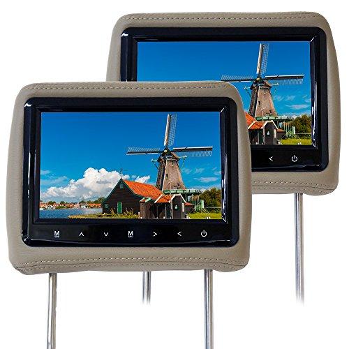 [H770Y]9インチ 高画質 タッチボタン ヘッドレストモニター レザータイプ 左右セット/ベージュ