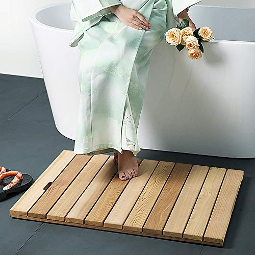 AJMINI rechthoekige eco-vriendelijke natuurlijke bamboe houten multifunctionele douche bad eend board, anti-slip rubberen voeten voor douche mat, spa sauna