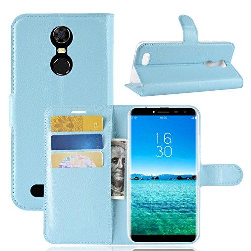 LMFULM® Hülle für OUKITEL C8 3G / 4G (5,5 Zoll) PU Leder Magnetverschluss Brieftasche Lederhülle Handytasche Litschi Muster Standfunktion Ledertasche Flip Cover für OUKITEL C8 Blau