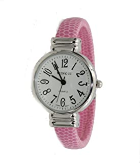 Women's Classic Snake Style Easy Read Bangle cuff Watch-Pink