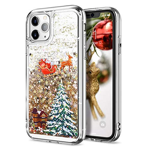 CinoCase iPhone 11 Pro Max Case 3D Liquid Case [Christmas Collection] Flowing Quicksand Moving Stars Glitter Snowflake Christmas Tree Santa Claus Pattern Case for iPhone 11 Pro Max 6.5 inch Gold