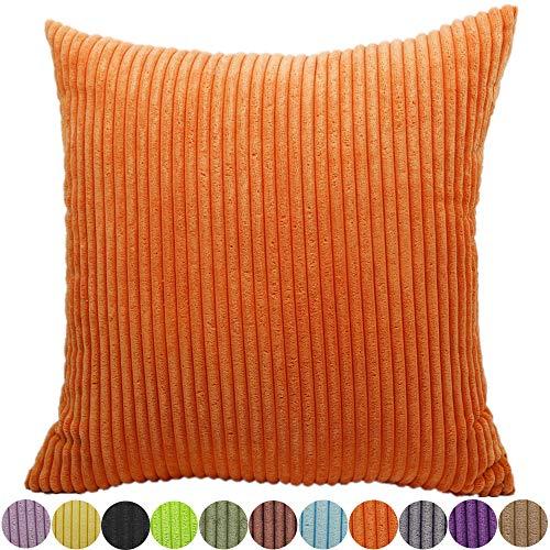 FEILEAH Funda de Almohada Suave Fundas de Cojínes Striped Corduroy de Throw Pillowcase Cremallera Oculta para el Hogar Decoración Sofá Cama en del Coche Color Sólido Funda Cojin,Naranja,55X55