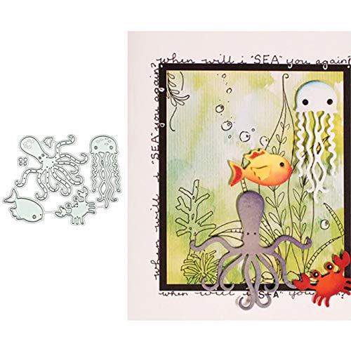 little finger Stanzschablonen, Quallen Oktopus Krebs Metall Stanzformen für Kartenherstellung, DIY Scrapbooking Papierkarten Schablone – Silber