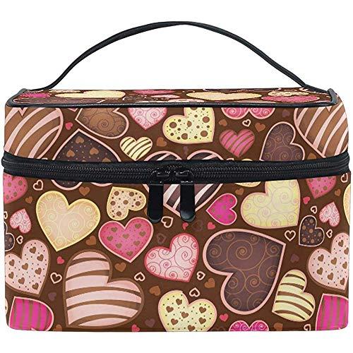 Voyage Cosmétique Sac Doux Chocolat Coeurs Valentine Maquillage BagTravel Cosmétique Brosse Sac Organisateur De Stockage