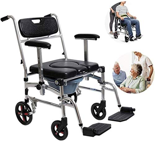 HZYDD Multifunctional Collapsible Wheelchair Light Rolling Shower Chair...