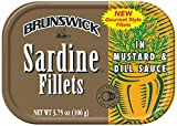 BRUNSWICK Wild Caught Sardine Fillets in Mustard and Dill Sauce, 3.75 Ounce Cans (Pack of 18), Canned Sardines, High Protein Food, Keto Food, Gluten Free Food, Canned Food, Bulk Snacks