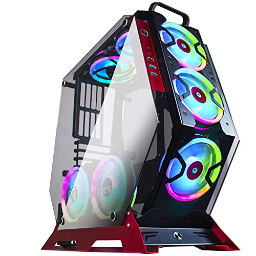 KEDIERS 7pcs 120mm ARGB Fans ATX Mid-Tower Chassis Gaming PC Case 2 Tempered Glass Panels Gaming Style Open Computer Case Desktop Case C-570