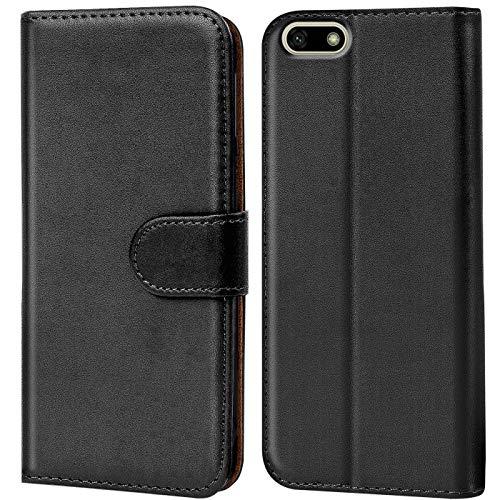 Verco Funda para Huawei Y5 2018, Telefono Movil Case Compatible con Huawei Y5 2018 Libro Protectora Carcasa, Negro