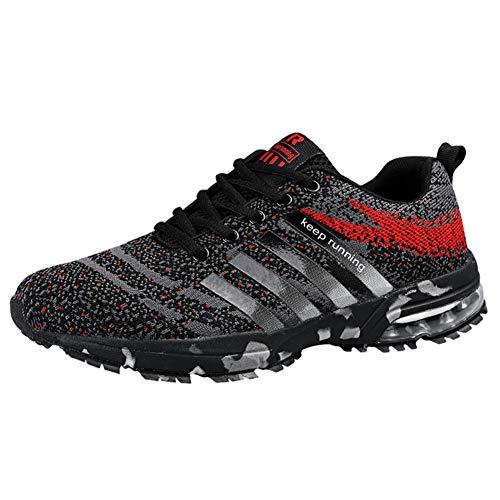 Wealsex Laufschuhe Turnschuhe Straßenlaufschuhe Sneaker Mit Damen Herren Sportschuhe Laufen auf Asphalt (42 EU, Tarnung Rot)