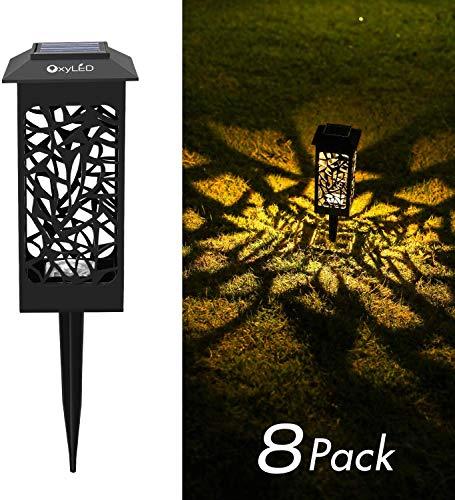 Solarleuchte Garten Außen,OxyLED 8 Stück Solar Gartenleuchte IP65 Wasserdicht Solarlampe mit Erdspieß Kunststoff für Garten Patio Rasen,Terrasse Warmweiß