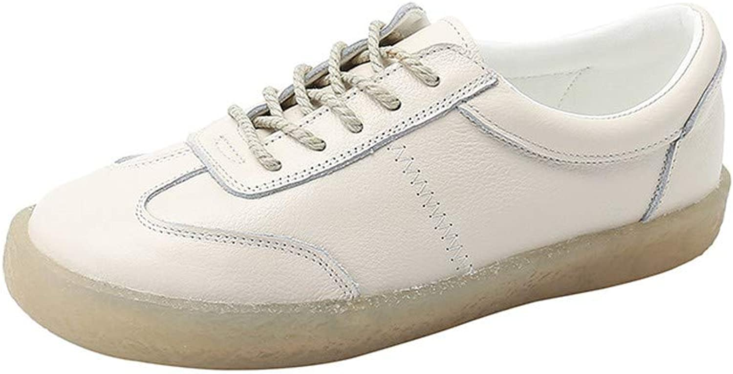 Pophight Women's Classic Leather Flat shoes Oxford Soles Casual Walking shoes