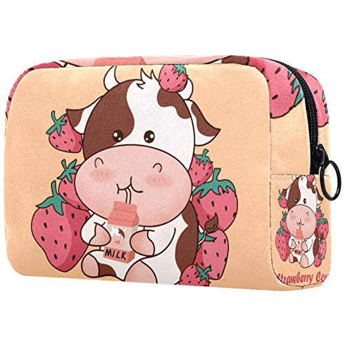 Personalised Makeup Brushes Bag Portable Toiletry Bags for Women Handbag Cosmetic Travel Organiser Strawberry Cow