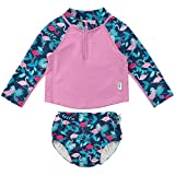 i play. by green sprouts baby girls Two Piece Rashguard Rash Guard Set, Navy Flamingos, 24 Months US