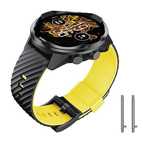 NotoCity Compatible Suunto 7 Correa Soft Silicone Watch Correa para Suunto 7 Reemplazo Watch Correa Sports para Hombres Mujeres(Amarillo Negro