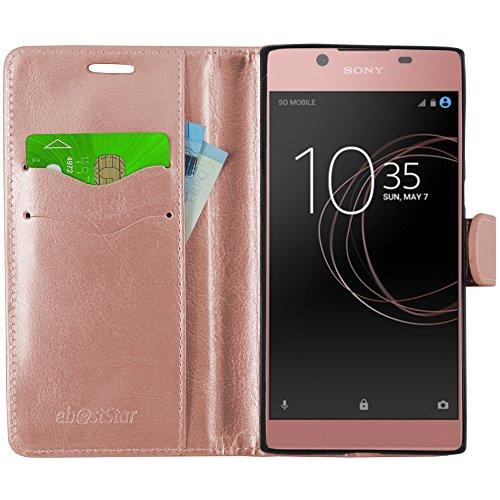 ebestStar - kompatibel mit Sony Xperia L1 Hülle L1 Dual Kunstleder Wallet Hülle Handyhülle [PU Leder], Kartenfächern, Standfunktion, Pink Gold [Phone: 151 x 74 x 8.7mm, 5.5'']