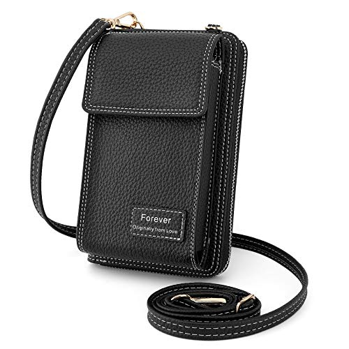 Luxspire Cellphone Holster Crossbody Bag, Cell Phone Purse Coin Purse Card Case, Womens Small Pouch Handbag Phone Pocket Shoulder Bag Fit for iPhone 12 Pro, iPhone 12/11/8 Plus Xs Max X Xr - Black