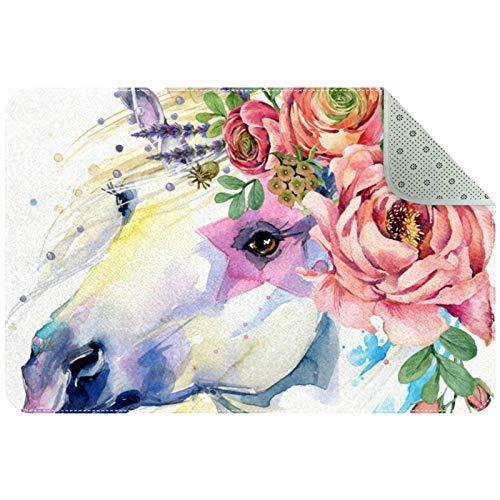Protector de silla para suelos duros, alfombrillas antideslizantes en el interior del suelo, alfombra de unicornio, caballo floral