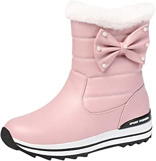 ELEEMEE Women Sweet Bow Flat Ankle Boots Pull On