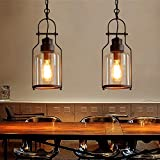 Lovedima Industrial 1-Light Rust Metal Glass Lantern Pendant Light Ceiling Lamp Fixture