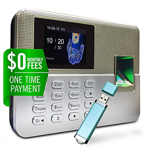 Timedox Silver D Biometric Fingerprint Time Clock for Employees | $0 Monthly Fee | One Time Payment for The Software Required | Arrange in Out Automatically