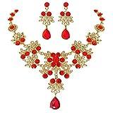 QIANGU Cristal rojo nupcial floral ola lágrima collar pendientes conjuntos de joyas para mujeres