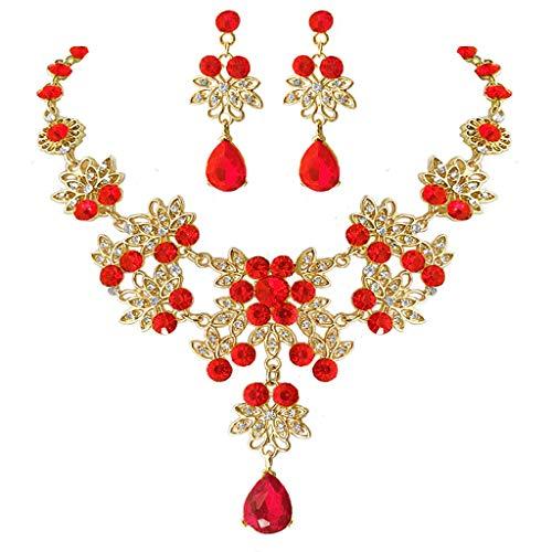 Colar vermelho de joias de casamento, brincos de cristal para mulheres e meninas, pingente de lágrima, corrente, gargantilha, presente elegante