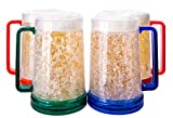 Freezer Beer Mugs With Gel, Beer Mugs For Freezer, Freezer Mugs For Beer, Double Wall Gel Freezer Mugs, Beer Mugs With Handle, Plastic Beer Mug, Gel Mug, Mug Freezer, Set Of Freezer Mugs, 4 pc Colored