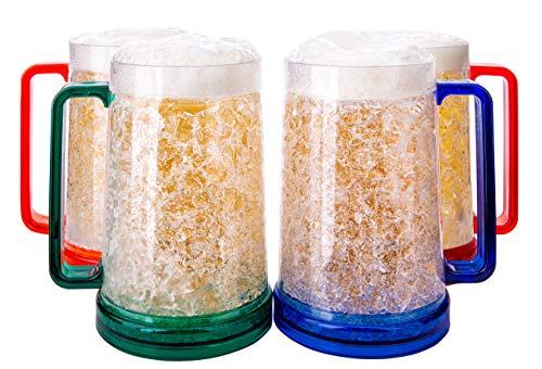 Freezer Beer Mugs With Gel, Beer Mugs For Freezer, Freezer Mugs For Beer, Double Wall Gel Freezer Mugs, Beer Mugs With Handle, Plastic Beer Mug, Gel Mug, Mug Freezer, Set Of Freezer Mugs, 4 pc Colored