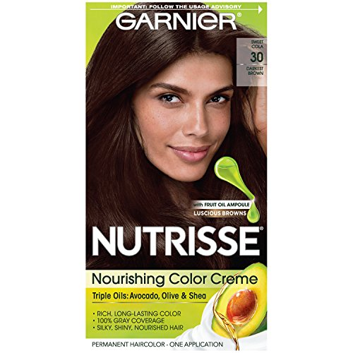 Garnier Nutrisse Nourishing Hair Color Creme, 30 Darkest Brown