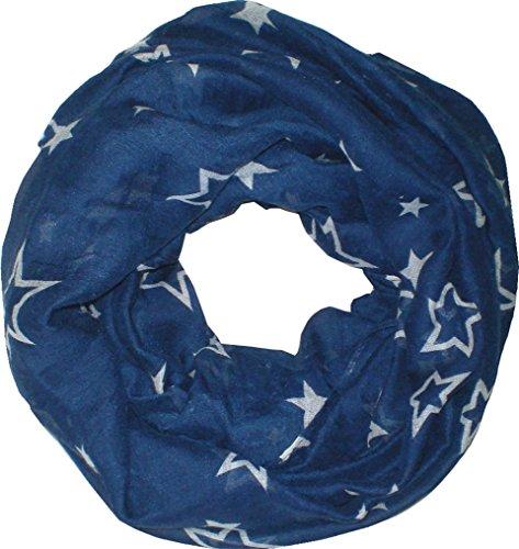 Homme Femme Loop Écharpe écharpe bleu Tuyau écharpes rond bleu écharpe (étoile) 4717